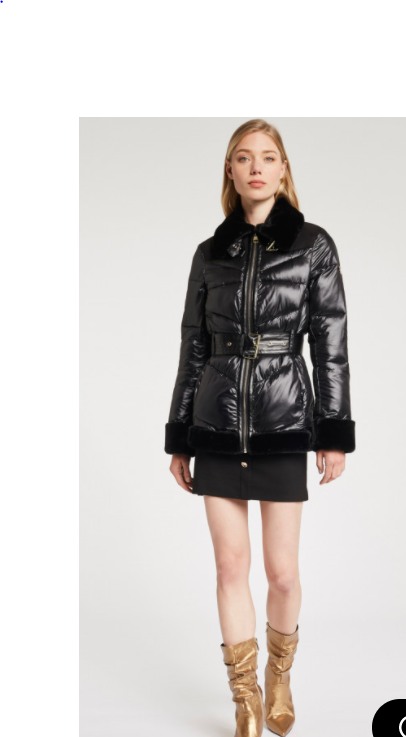 Gaudi Puffer jacket Belted waist Fur collar and cuffs