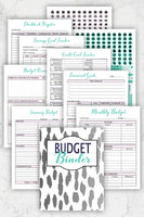 printable budget binder planner flat lay with monthly budget sheets, budget review, savings goal trackers, and budgeting stickers