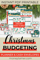 Printable Christmas budgeting planner and sinking fund envelopes pin for an instant PDF printable download