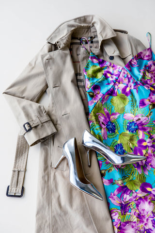 Burberry trench coat, DAGMAR SPICHALE silk slip dress, J.Crew heels