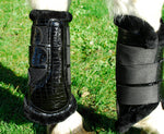 Rhinegold Mock Croc Patent Brushing Boots Fur Lined