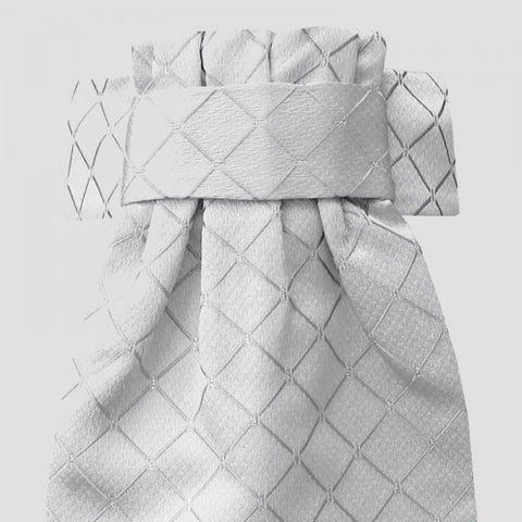 DIAMOND JACQUARD DELUXE READY-TIED STOCK IVORY/SILVER