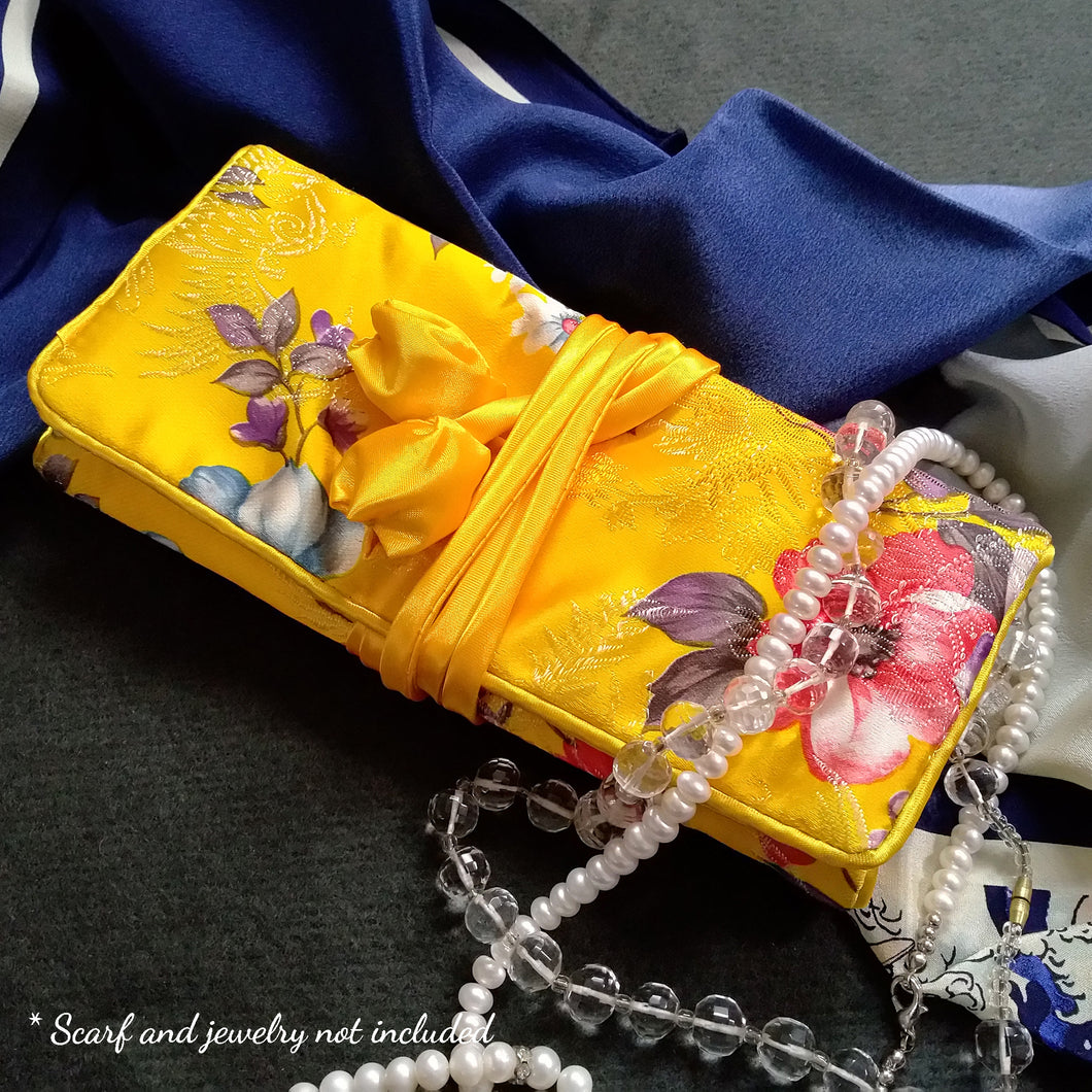 Pretty Yellow Satin Jewelry travel organizer