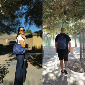 men and women with blue backpack