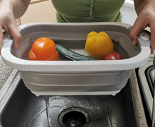 Load image into Gallery viewer, collapsible wash basin can drain easily by removing the stopper