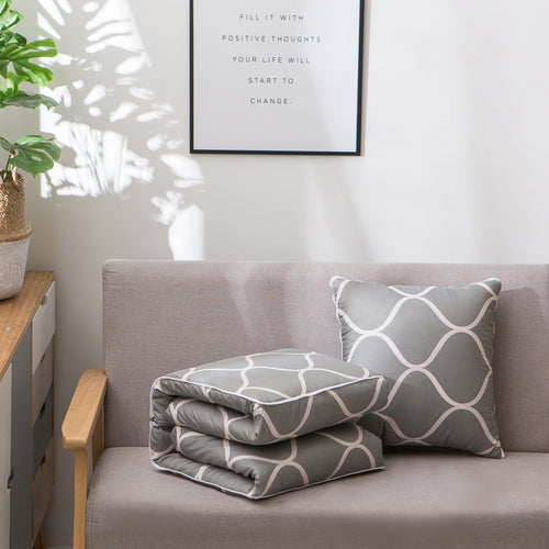 grey geometric couch pillow