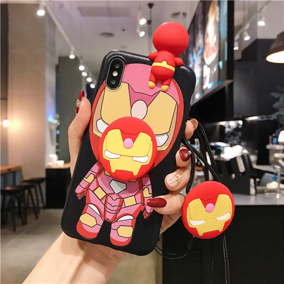 Cute 3D Marvel Cartoon Lanyard Bracket Phone Case For iPhone 11 Pro MAX X XS MAX XR 6 6s 7 8 Plus