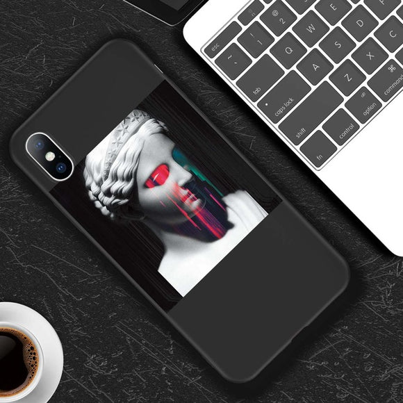 Phone Case For iPhone 11 6 6s 7 8 Plus X XR XS 11Pro Max 5 5s SE Cartoon Statue Abstract Art Painted Soft TPU Phone Case