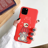 Red Phone Case For iPhone XS 11Pro Max XR X 10 8 7 6 6S Plus 5S SE 2020 Case Soft TPU Cute Cat Back Cover phone Case