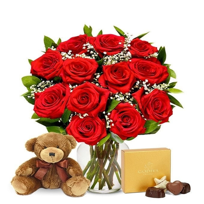 12 Red Roses, Chocolates & Bear