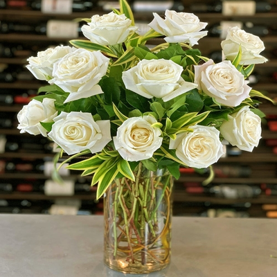 24 White Roses Arrangement