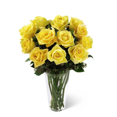 12 Yellow Roses Arranged