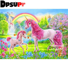 Load image into Gallery viewer, 5D Diamond painting Colorful rainbow unicorn