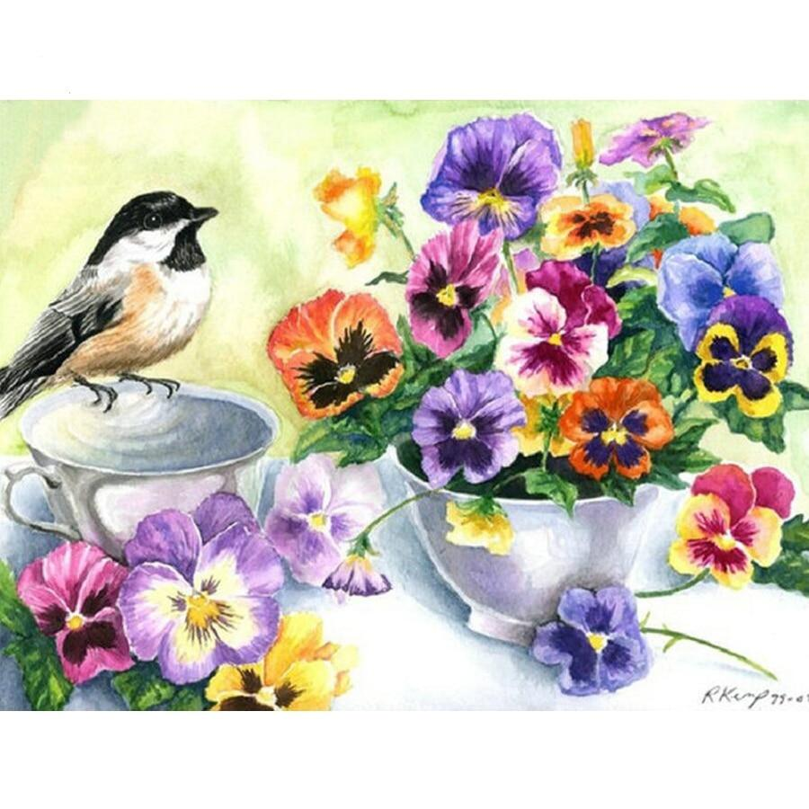 5D DIY Diamond Painting Flowers Mosaic and bird