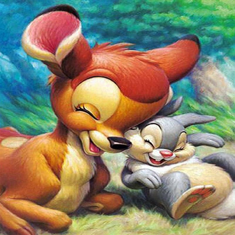 Diamond Painting cartoon Bambi Deer and Rabbit