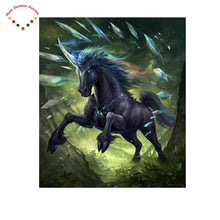 Load image into Gallery viewer, 5D Diamond Painting Black unicorn