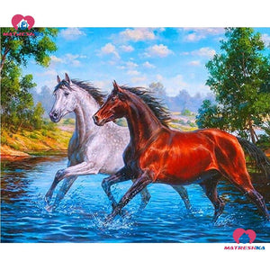 5d diamond painting horse water