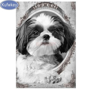 5d diy diamond painting Shih Tzu dog