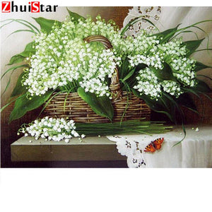 5d Diamond Painting mosaic white flower