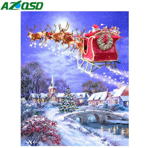 Diamond Painting Christmas Winter Santa Claus sled