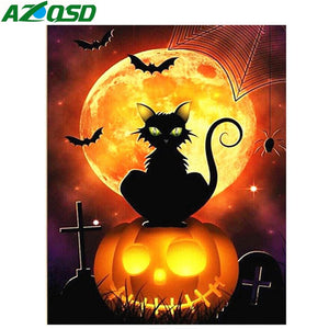 Diamond Painting Cat Cartoon Pumkin