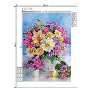 Diamond Painting beautiful flowers pink and yellow