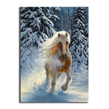 Load image into Gallery viewer, diamond painting winter tree horse running landscape