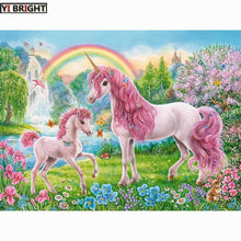 Load image into Gallery viewer, DIY 5D Diamond Painting Pink Unicorns and rainbow