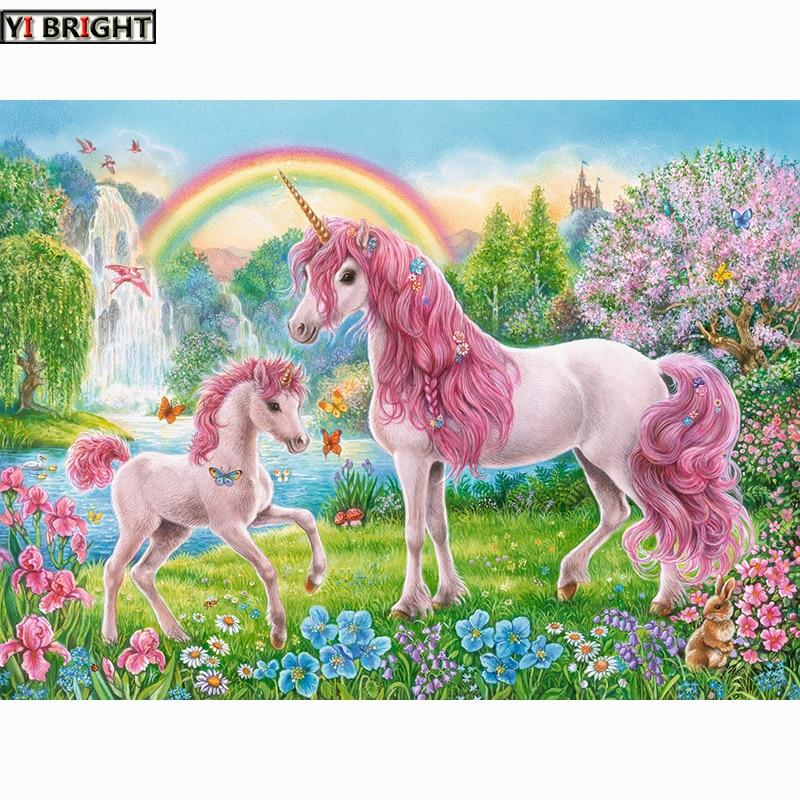 DIY 5D Diamond Painting Pink Unicorns and rainbow