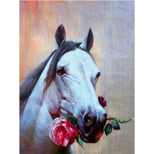 DIY 5D Diamond Painting Horse Flower