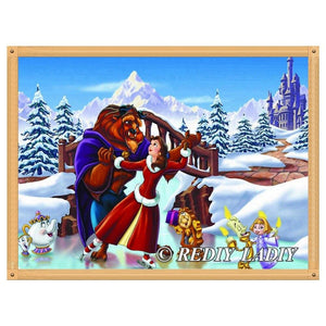 diamond painting Beauty Beast snow house landscape