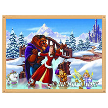 Load image into Gallery viewer, diamond painting Beauty Beast snow house landscape