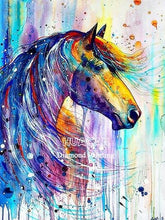 Load image into Gallery viewer, DIY Diamond Painting Horse blue