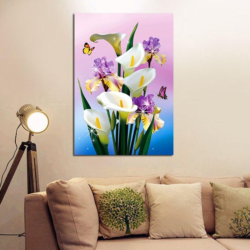 DIY Diamond Painting pink and white flowers