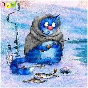 Diamond painting blue cat fishing