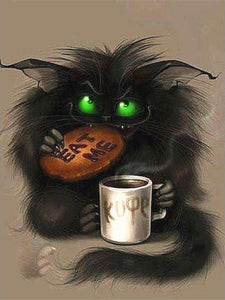 Diamond Painting Cartoon Cat eating cookie