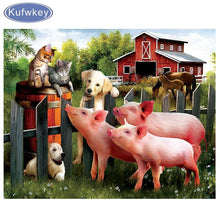 Load image into Gallery viewer, Diamond Painting farm animal pigs