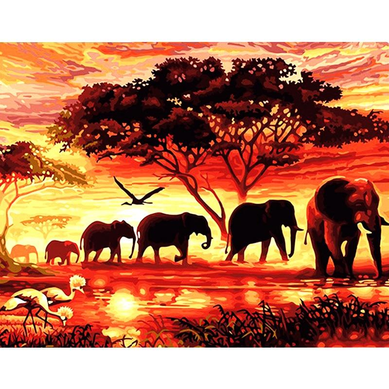 Diamond Painting Animal Elephants savanna