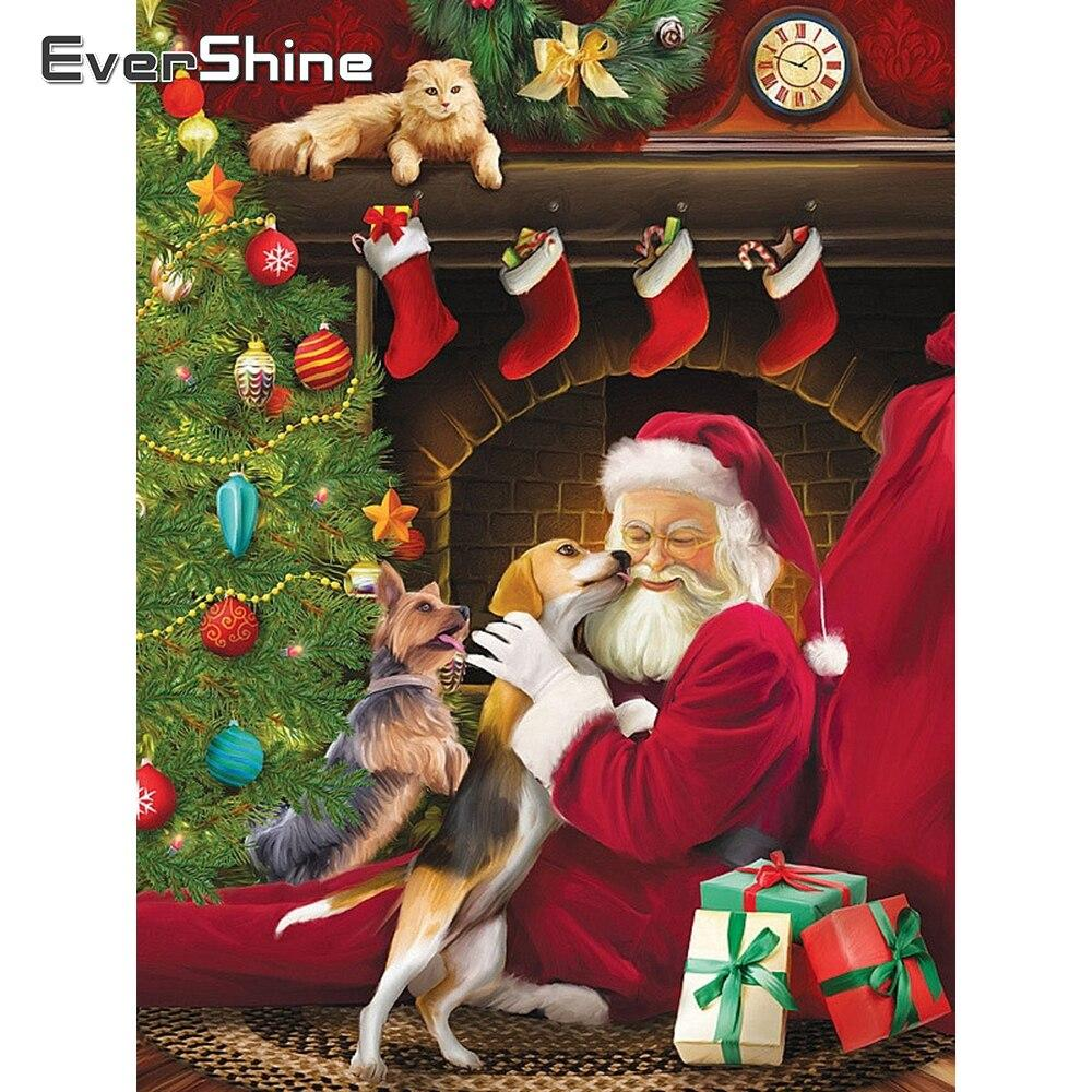 Diamond Painting Christmas Claus Portrait tree