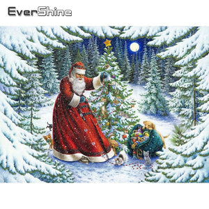 Diamond Painting Christmas Santa Claus snow wood