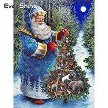 Load image into Gallery viewer, Diamond Painting Christmas blue Santa Claus wood tree