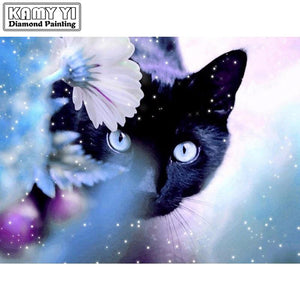 Diamond Painting Black Cat and white flowers