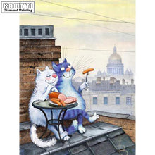 Load image into Gallery viewer, Diamond painting Cats eating