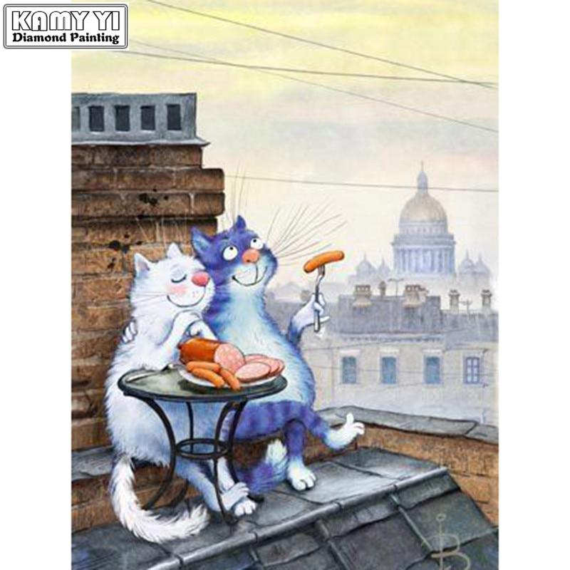 Diamond painting Cats eating