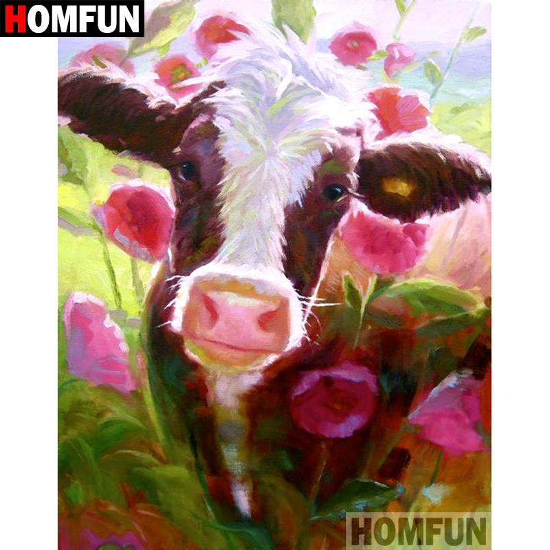 Diamond Painting cow in wood