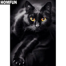 Load image into Gallery viewer, Diamond Painting Black cat yellow eyes