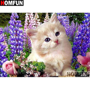 Diamond Painting cat with purple flowers