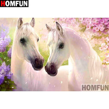 Load image into Gallery viewer, diamond painting Animal two white horses
