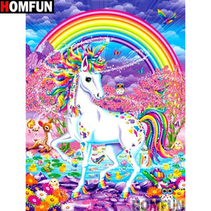 diamond painting Cartoon unicorn rainbow wood