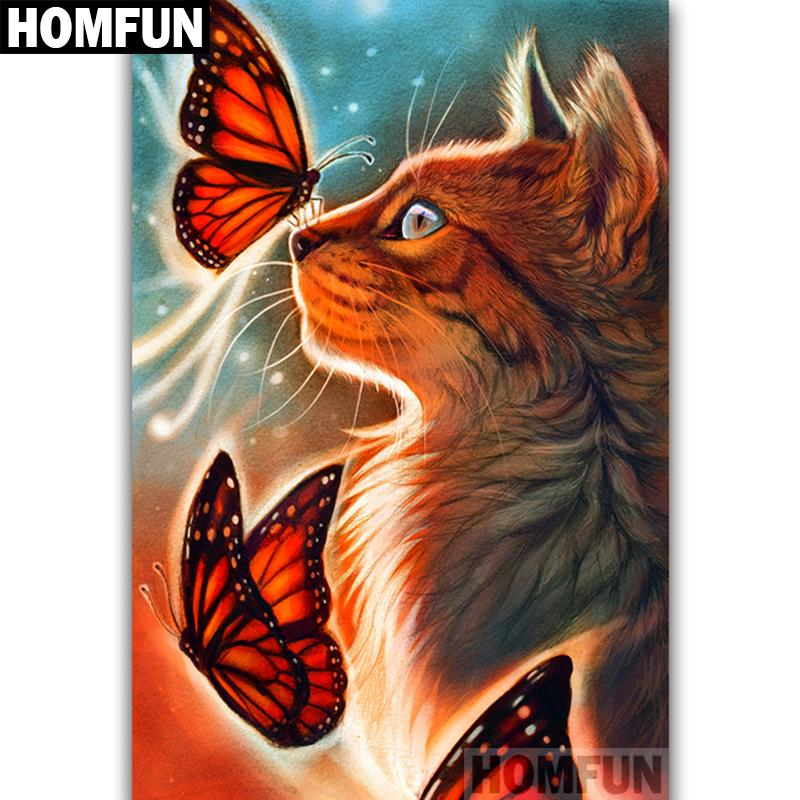 Diamond Painting Cat Butterfly sunshine